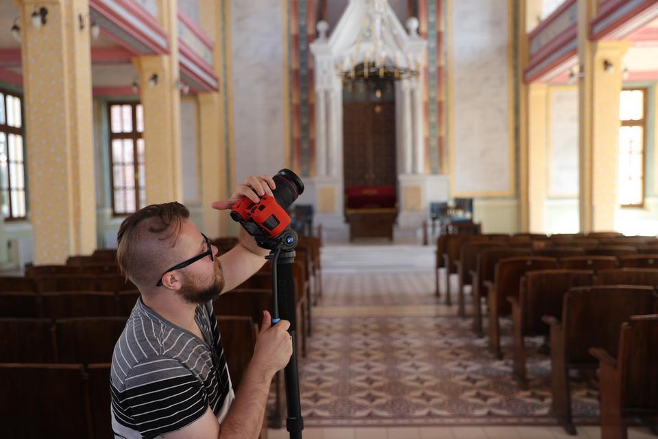 A member of the JLT television team filming in Edirne, Turkey on October 11, 2021.