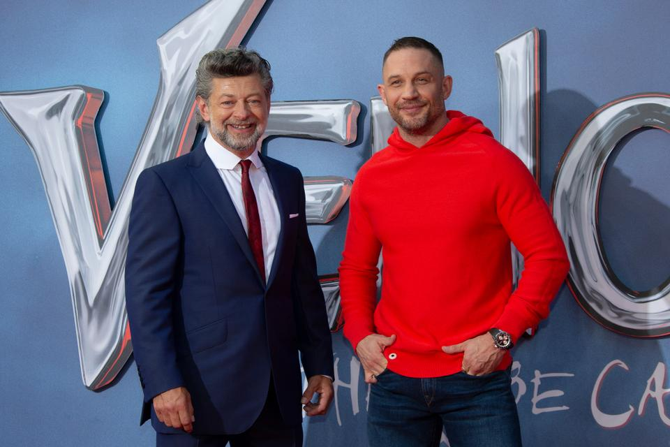 Actor Tom Hardy, right, and director Andy Serkis appear during a photo call for their film