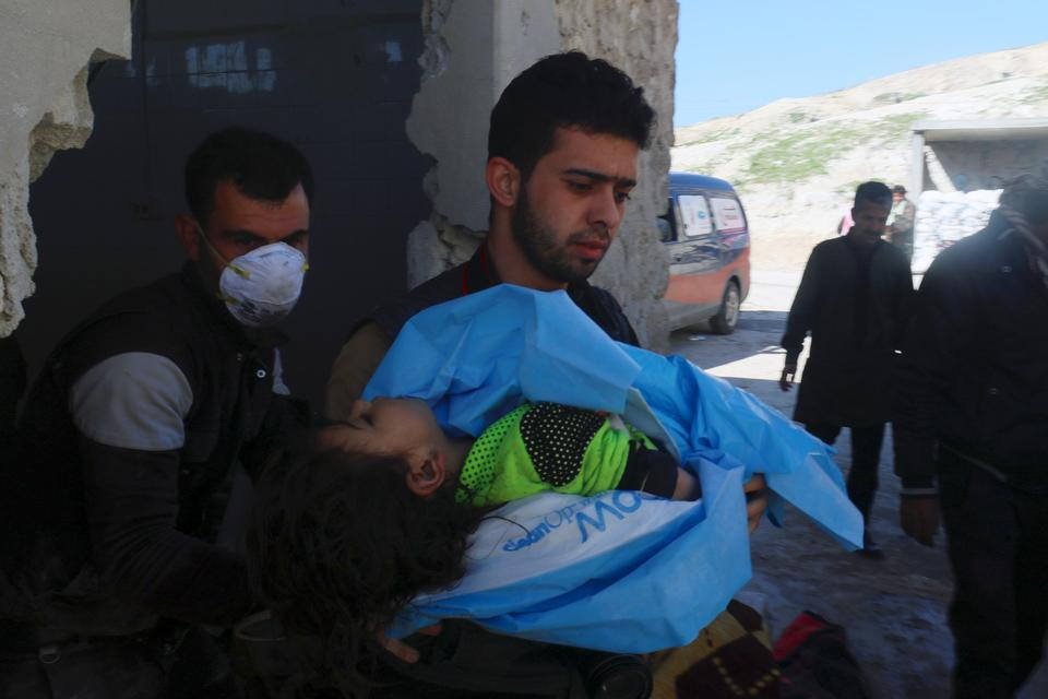 Rescuers and victims of a chemical weapons attack on the town of Khan Shaykhun, to the south of Idlib, in Syria.