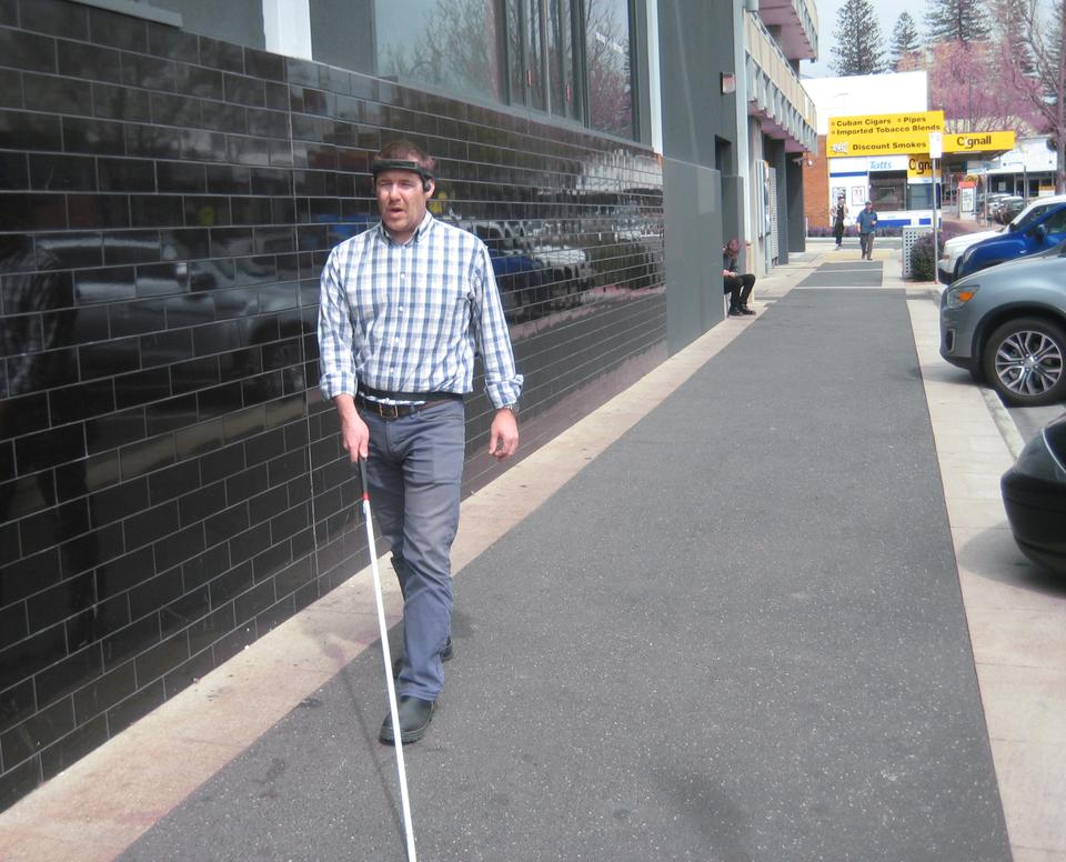 The Sonic Pathfinder helps blind people detect objects. (Courtesy of Tony Heyes)