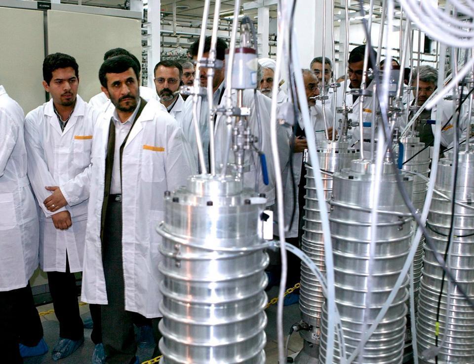 Iranian President Mahmoud Ahmadinejad visits the Natanz nuclear enrichment facility, 350 km (217 miles) south of Tehran on April 8, 2008.