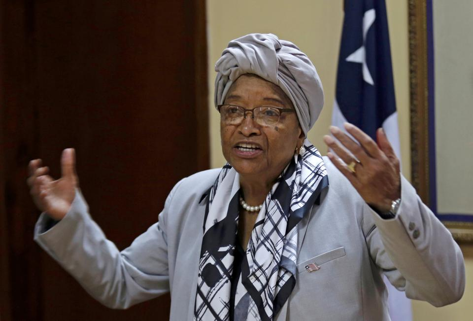 Liberia's President Ellen Johnson Sirleaf speaks during a news conference at the Presidential Palace in Monrovia, Liberia. October 12, 2017.