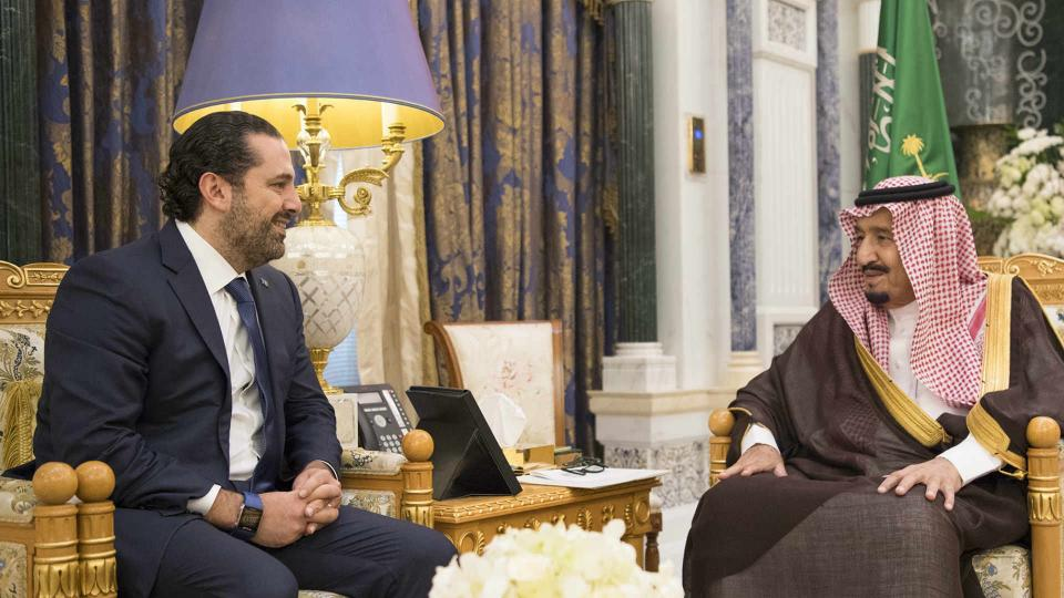Saudi Arabia's King Salman bin Abdulaziz al Saud meets with former Lebanese Prime Minister Saad Hariri in Riyadh, Saudi Arabia November 6, 2017. Hariri's surprise resignation in a televised speech aired on Al Arabiya TV had drawn criticism and was met with controversy in Beirut. Some have questioned whether Hariri's resignation was voluntary.