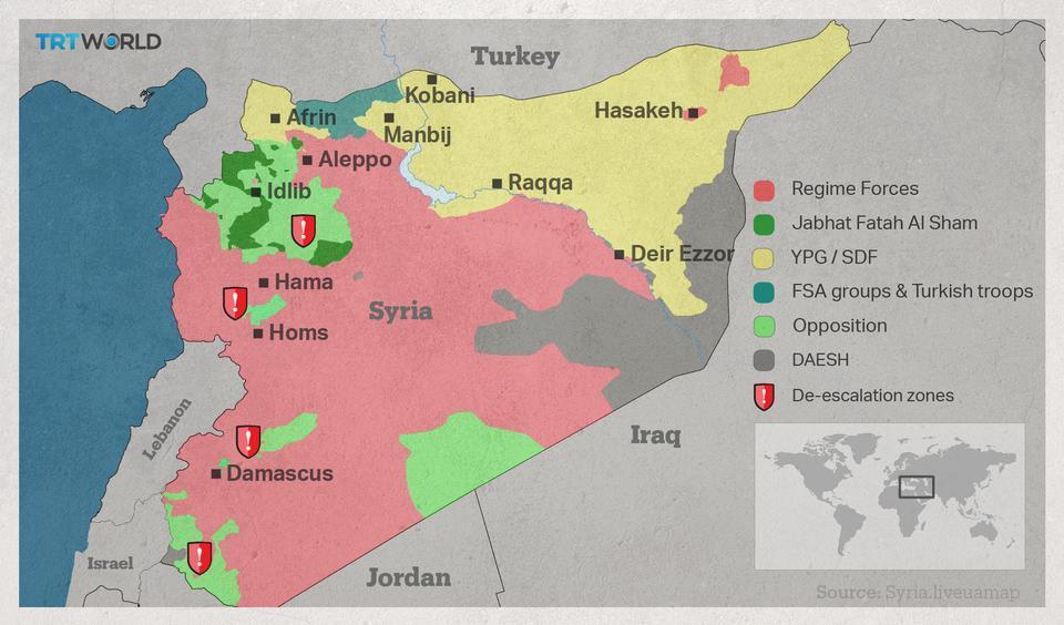 Syria's de-escalation zones, October 2017