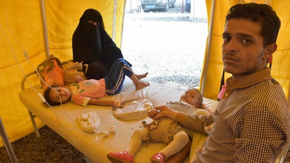 Cholera in Yemen has had a devastating impact on young children such as Huda Amr Dahesh (second from right) and their families.