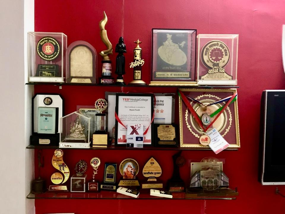 India's first lady detective Rajani Pandit displays her awards in her small office in Mumbai.