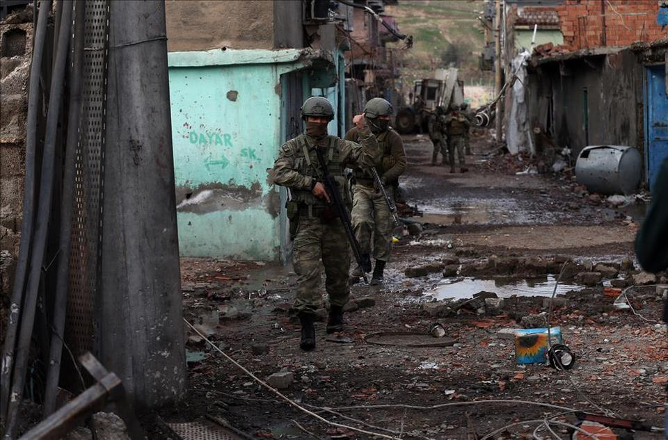 Turkish security forces patrol the streets of Cizre during heavy clashes between PKK and security forces from mid-2015 to early 2016. The latest PKK attacks represent a new  tactic to bring its armed campaign to Turkey's urban centres in its southeastern and eastern provinces.