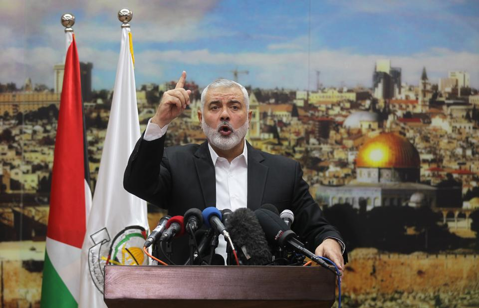 Hamas leader Ismail Haniya gestures as he delivers a speech over US President Donald Trump's decision to recognise Jerusalem as the capital of Israel, in Gaza City on December 7, 2017.