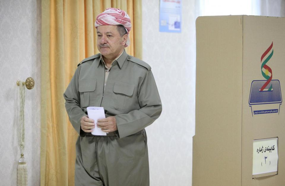 Iraqi Kurdish President Masoud Barzani casts his vote during the KRG- independence referendum in Erbil, Iraq.