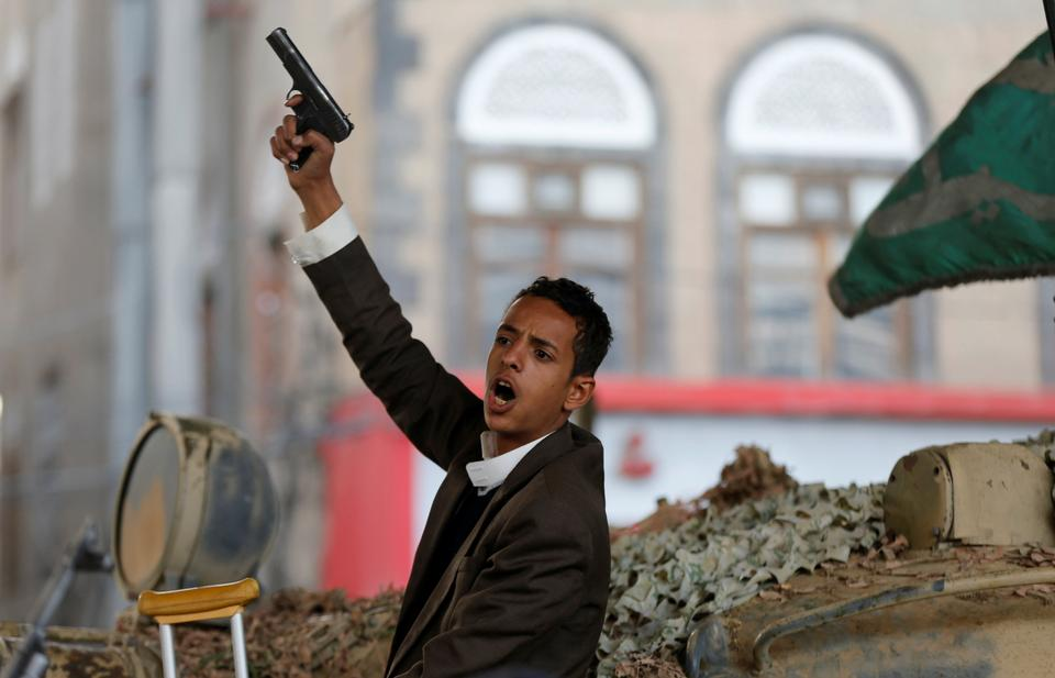 A Houthi militant in Sanna after the death of Yemen's former president Ali Abdullah Saleh.