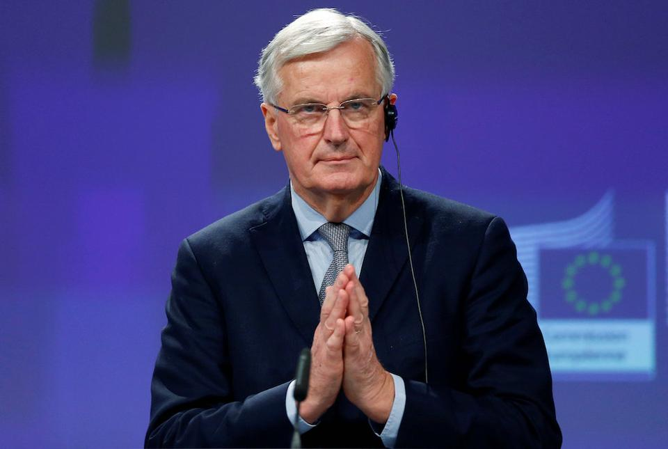 European Union's chief Brexit negotiator Michel Barnier holds a news conference at the EU Commission headquarters in Brussels, Belgium December 20, 2017.