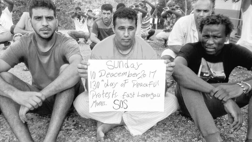Refugees held at Manus Island protest their treatment by the Australian government. The Manus Island facility had been a site of unmitigated human rights abuse, as with all of Australia's immigration detention centres, including its other offshore prison on the island nation of Nauru.