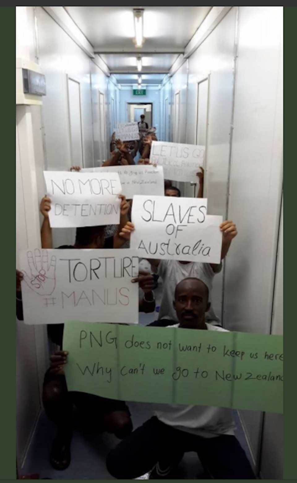 Refugees protest the government's decision to decommission the detention centre and send the men to alternative transit centres, denying them freedom. They have been imprisoned at Manus Island by Australia since 2013.