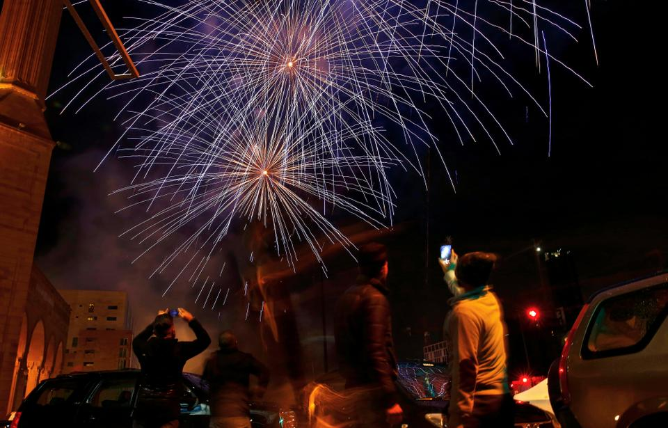 Artists, singers, DJs, an optical illusion  and a firework show marked the New Year's Eve celebrations in downtown Beirut.