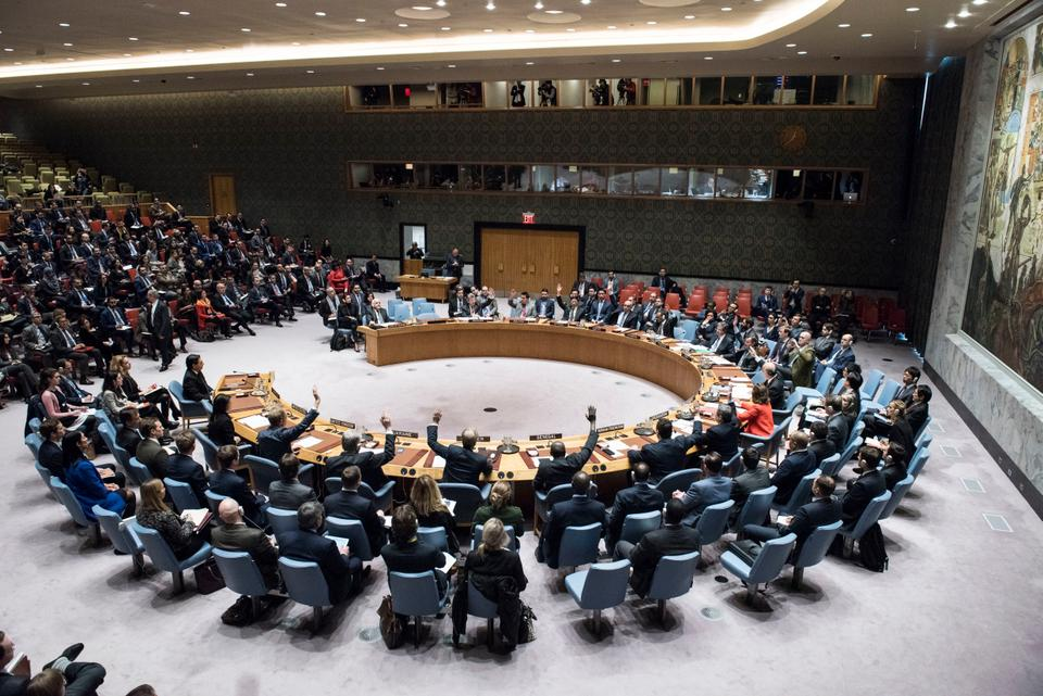In this file December 18, 2017 photo, the Security Council votes on a resolution concerning Jerusalem's status at United Nations headquarters.