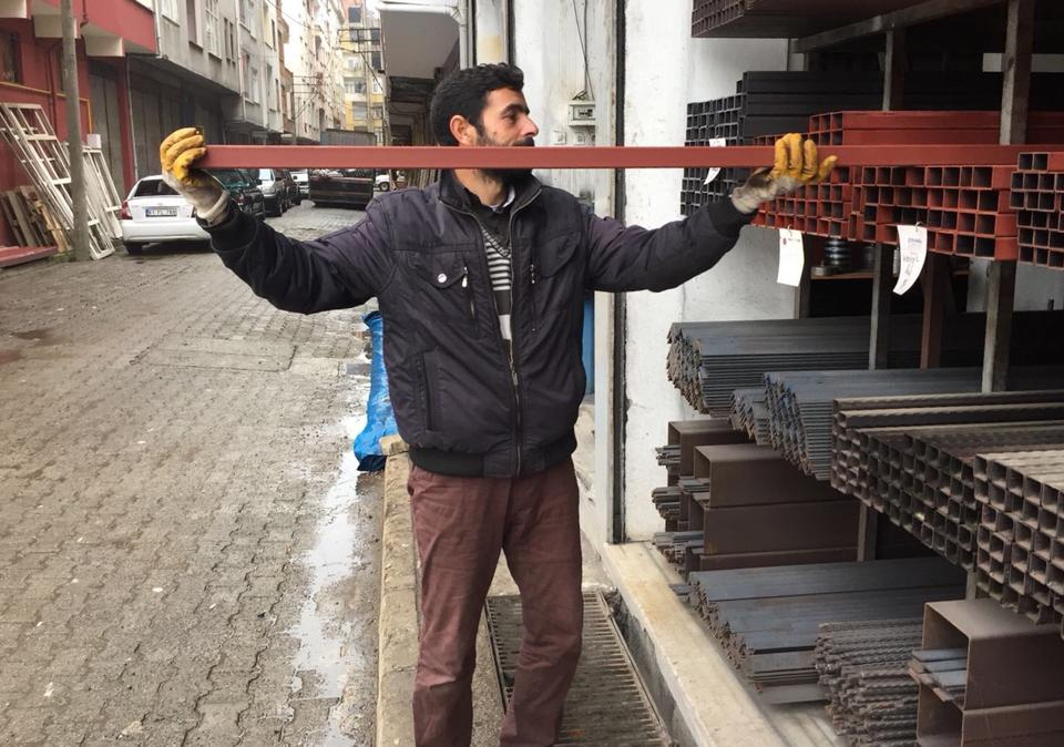 Moussa al Mustafa, a Syrian refugee works in Trabzon, January 13, 2017.