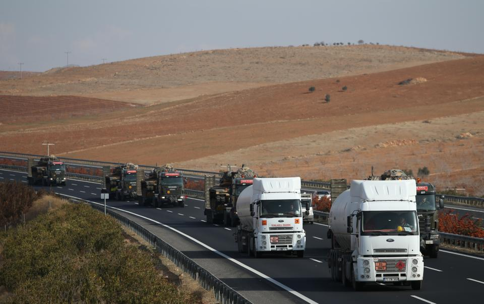 Turkish armoured vehicles are deployed to Gaziantep to reinforce border units in Sanliurfa, Turkey on January 16, 2018.