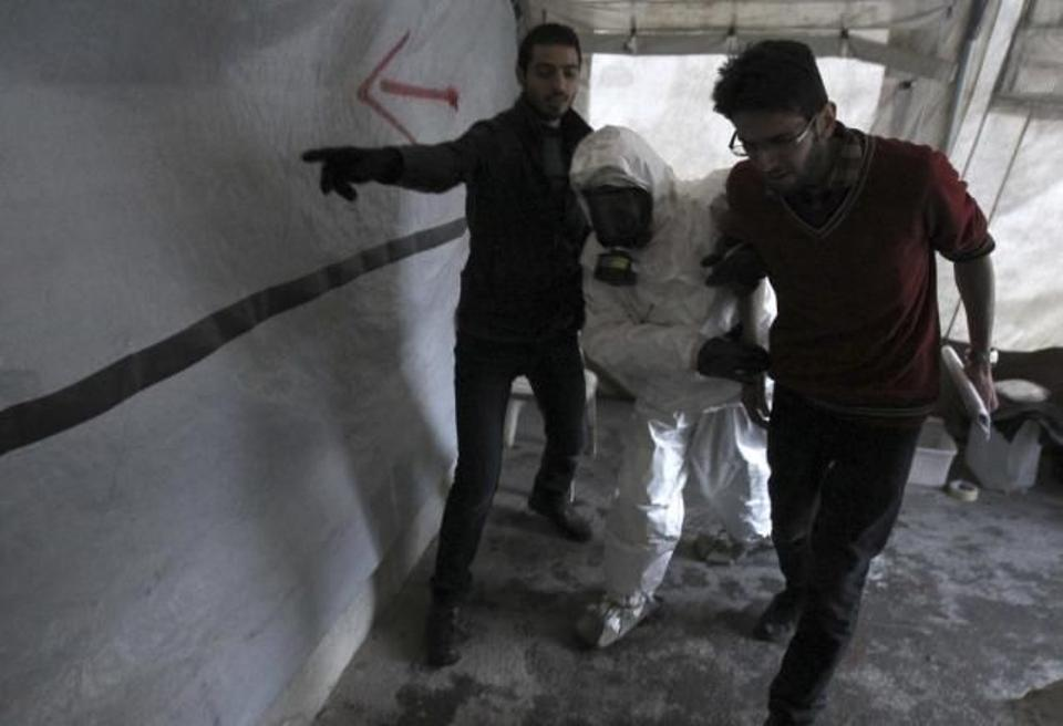 A Free Syrian Army medical group conducts a training on how to cope with chemical weapons attacks in Allepo.