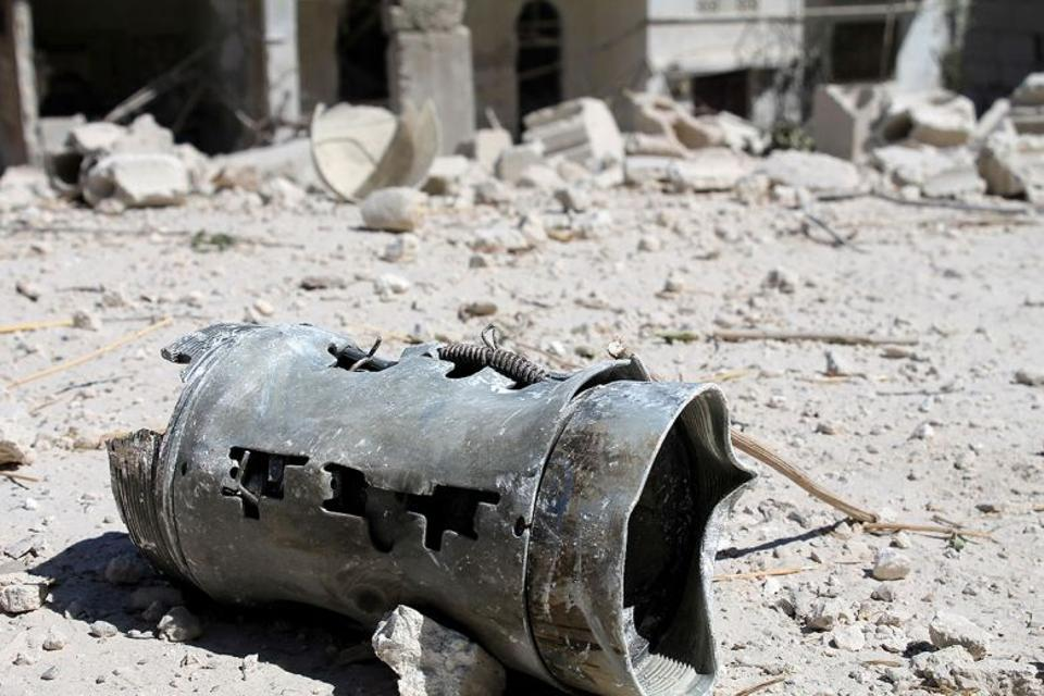 A barrel bomb lies on the ground in Ariha countryside of Syria.