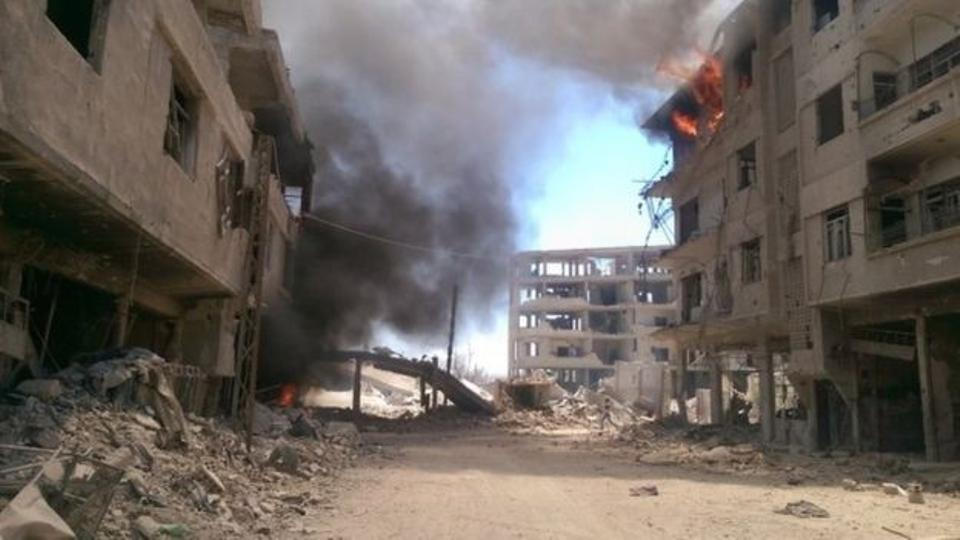 Daraya has been regularly pounded by regime air strikes since the onset of the war.