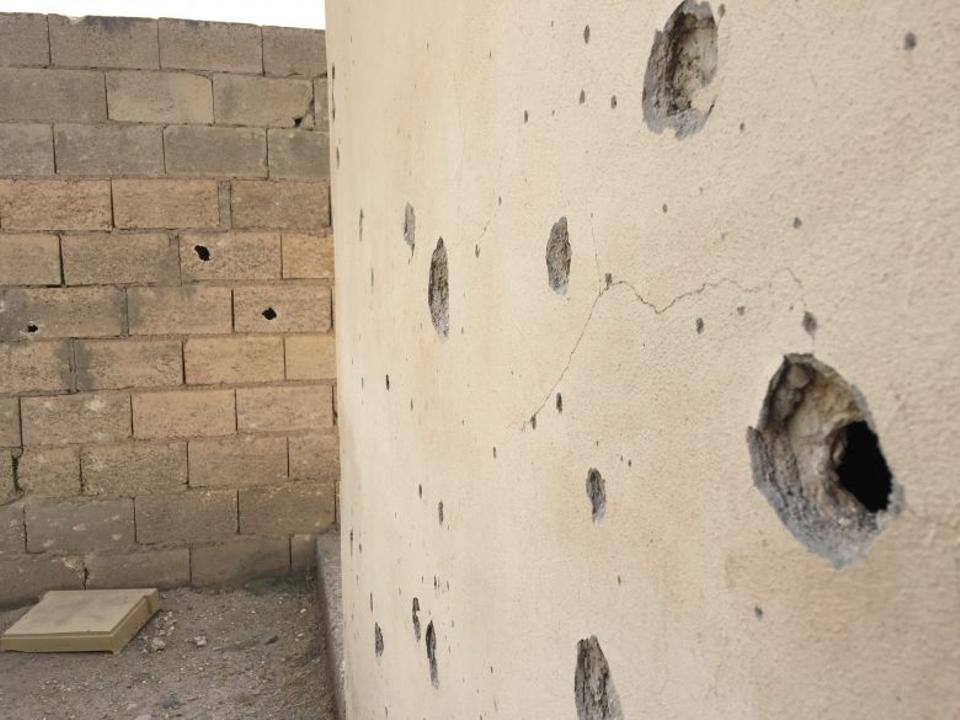 The marks left behind by mortar shells packed with steel-coated ball bearings and screws on August 2016