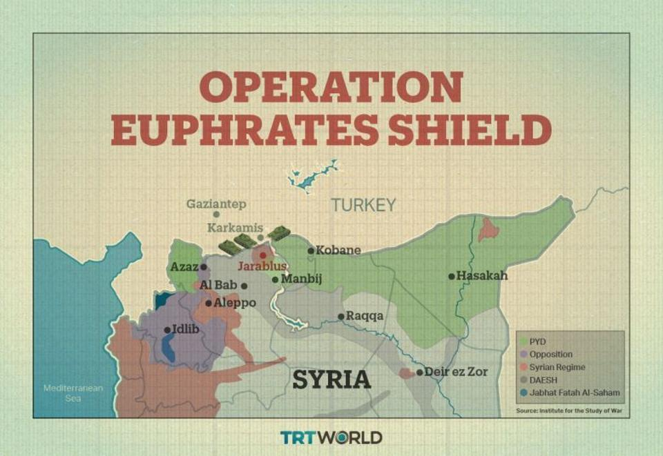 A map detailing Operation Euphrates Shield.