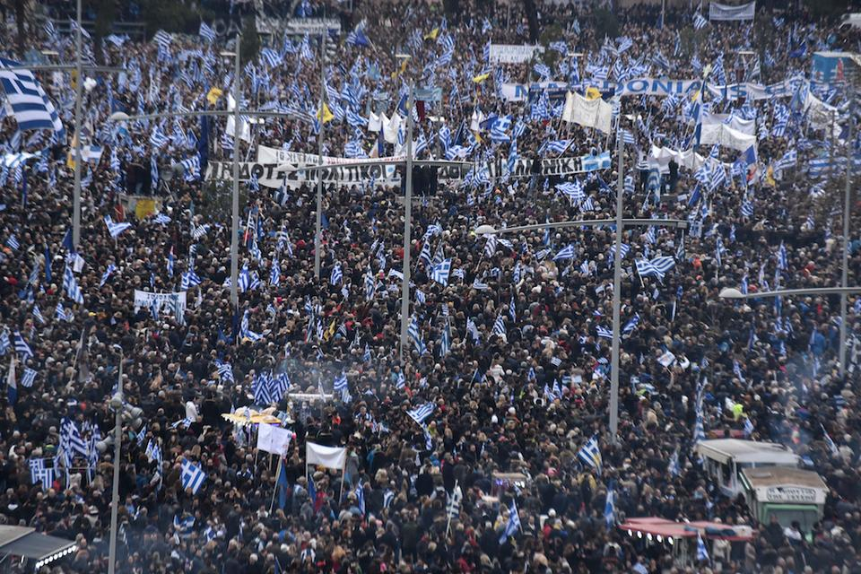 Thousands of protesters take part in a rally against the use of the term