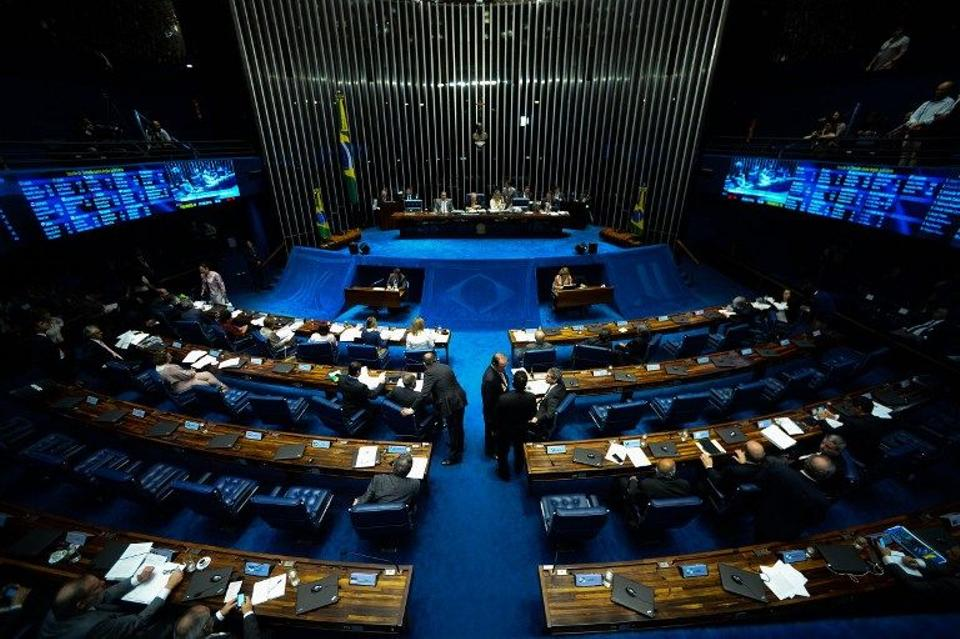 Senate's plenary during the third day of the Senate impeachment trial of Brazilian suspended President Dilma Rousseff at the National Congress in Brasilia on August 27, 2016. AFP