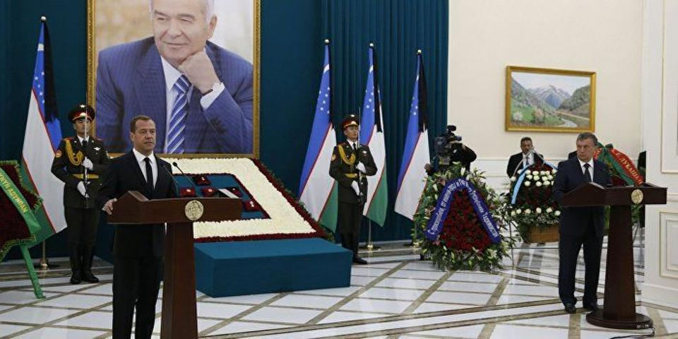 Russian prime minister Dmitry Medvedev delivers a speech during a memorial service before the funeral of Uzbek president Islam Karimov.