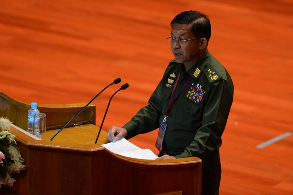 Myanmar military chief Senior General Min Aung Hlaing delivers his address during the opening of an ethnic peace conference in Naypyidaw on August 31, 2016.
