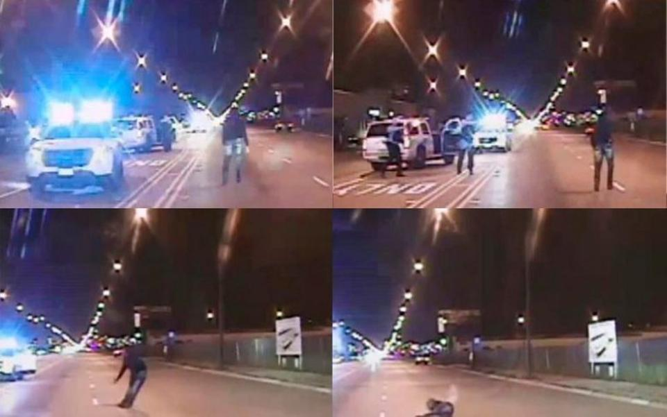 Screenshots of footage showing the moments leading up to the fatal shooting of Laquan McDonald. Image: Reuters.