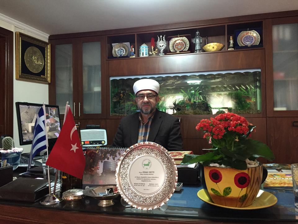 Elected Mufti Ahmet Mete in his office in Xanthi, Greece.