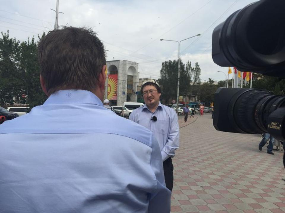 Filming with Kadyr Malikov in the centre of the Kyrgyz capital, Bishkek. (TRT World)
