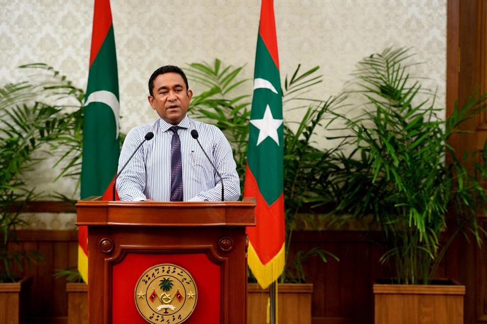 The president of the Maldives (pictured here) accused judges of plotting to overthrow him, hours after he declared a state of emergency and ordered the arrest of the chief justice.