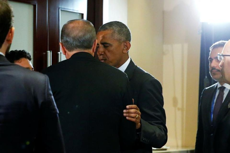Obama tracks down Erdogan for a brief private conversation after they gave remarks to reporters following their bilateral meeting alongside the G20 Summit in Hangzhou, China.