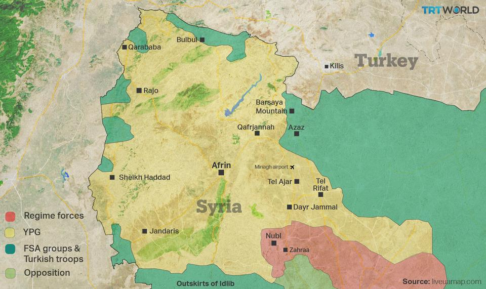 This map of northern Syria shows the major players in the region and the areas they control as Turkey continues with Operation Olive Branch in Syria's Afrin region. (TRTWorld)