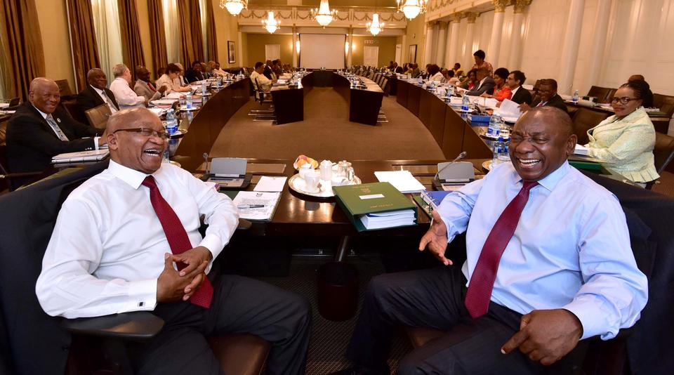 South African president Jacob Zuma and Deputy PresidentCyrilRamaphosa are seen attending Cabinet Committee meetings in this government handout picture, in Cape Town, South Africa, February 7, 2018.