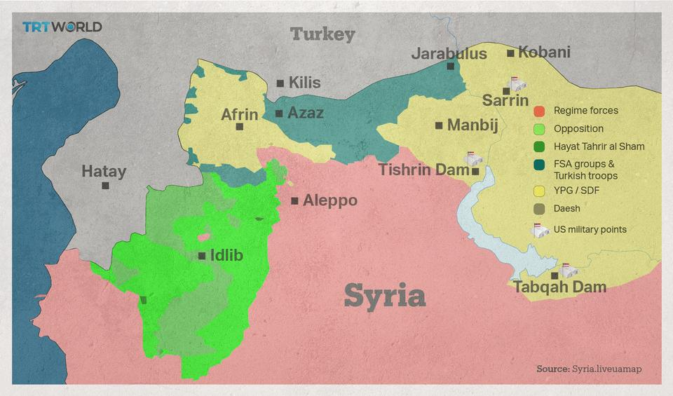 The US soldiers around Manbij are based in near Sarrin, Tishrin Dam and Tabqah Dam.