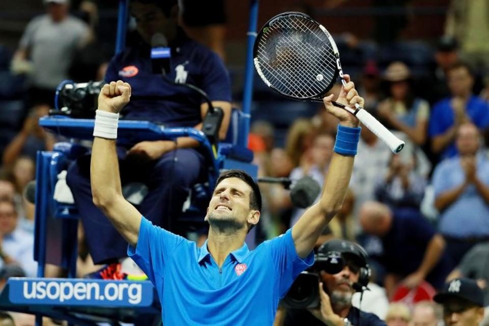 Novak Djokovic of Serbia reacts after defeating Kyle Edmund of Great Britain during his fourth round Men's Singles match on Day Seven of the 2016 US Open.