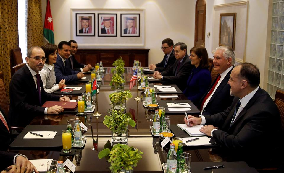 US Secretary of State Rex Tillerson and Jordanian Foreign Minister Ayman Safadi signed an aid agreement in Amman on Wednesday, February 14, 2018.