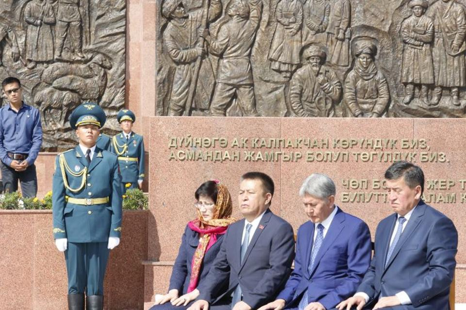 Kyrgyz President Almazbek Atambayev (second right) at the ceremony. [Bunyamin Kasap - TRT World]