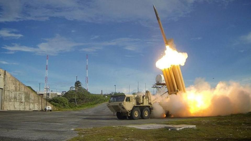 A Terminal High Altitude Area Defense (THAAD) interceptor is launched during a successful intercept test, in this undated handout photo provided by the US Department of Defense.