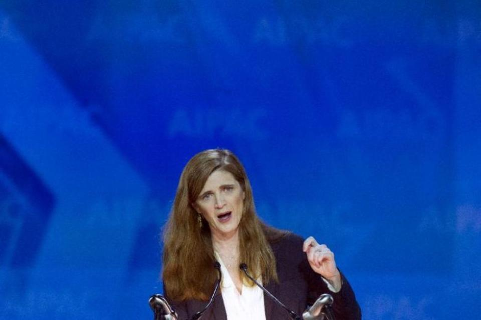 In this file photo, US United Nations Ambassador Samantha Power gestures while addressing the 2015 American Israel Public Affairs Committee (AIPAC) Policy Conference in Washington.