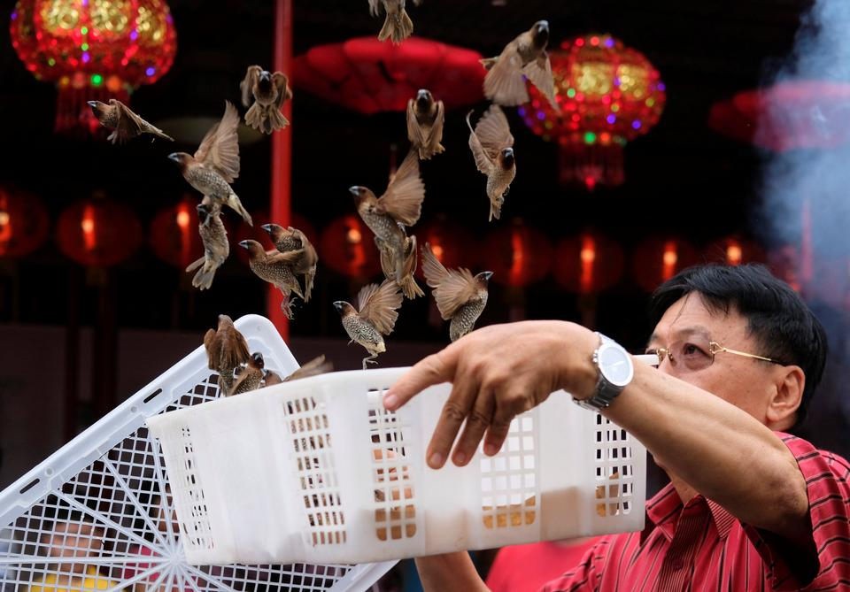 A man releases birds, which is believed to bring good luck, during celebrations of the Chinese Lunar New Year of the Dog at a temple in Chinatown in Jakarta, Indonesia, February 16, 2018.