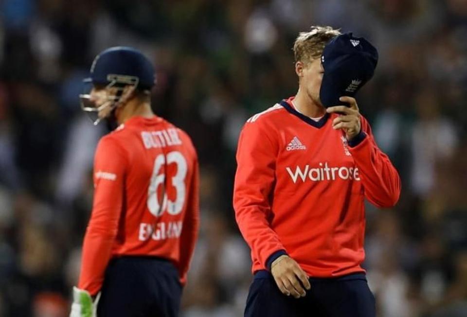 England's Joe Root looks dejected after Pakistan's Sharjeel Khan hits a six. Source: Reuters