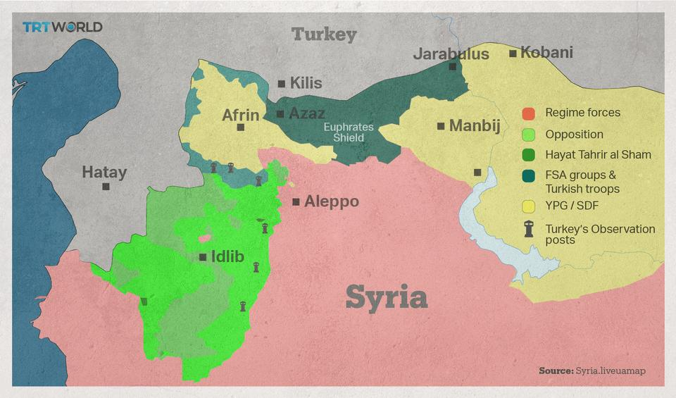 The latest situation in the northern Syria can bee seen from this coloured map