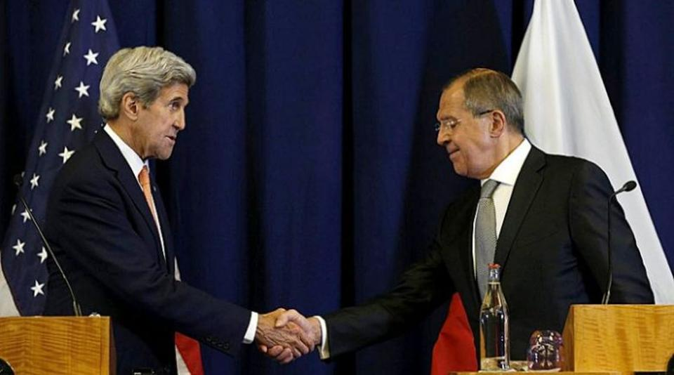 US secretary of state John Kerry and Russian foreign minister Sergei Lavrov during a press conference following their meeting in Geneva where they agreed a tentative ceasefire deal for Syria.