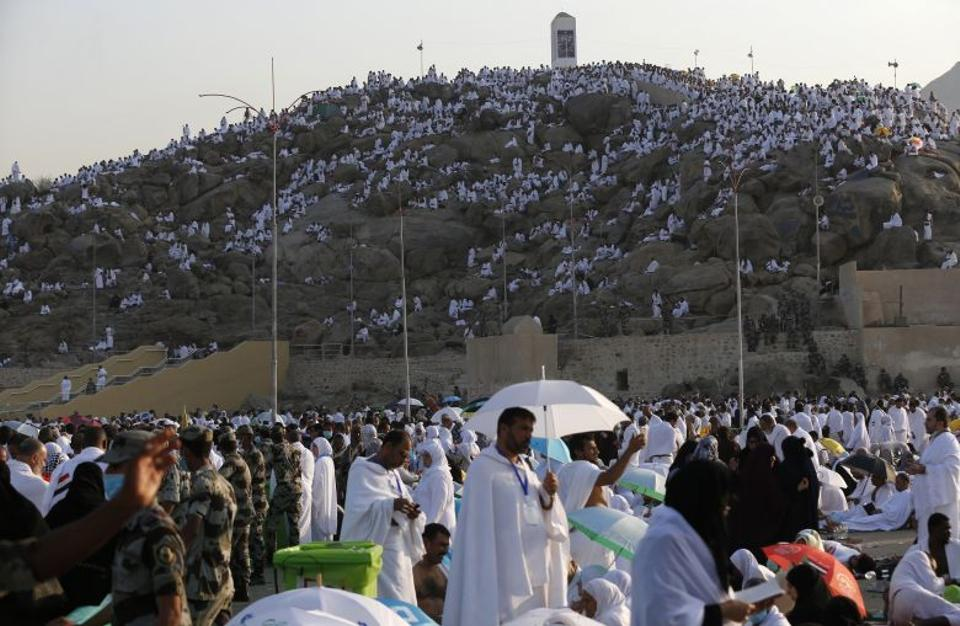 Muslim pilgrims arrive at Mount Arafat where the Prophet Mohammed is believed to have given his final sermon, near the holy city of Mecca, on September 11, 2016