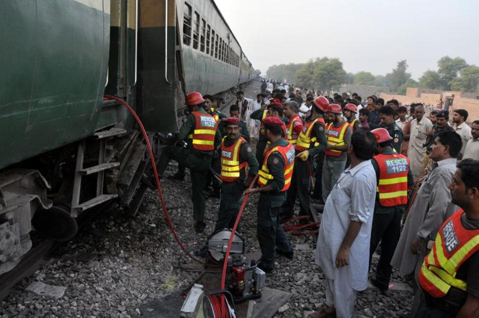 Emergency teams are engaged in rescue efforts after two trains collided near Multan, Pakistan, September 15, 2016.
