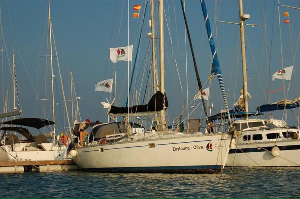 Sailing boat Zaytouna-Oliva is seen at the port of Barcelona.